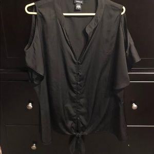 TORRID black satin cold shoulder blouse